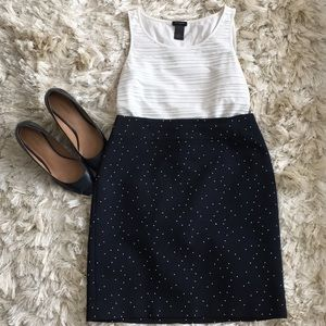 Ann Taylor navy skirt with white dots